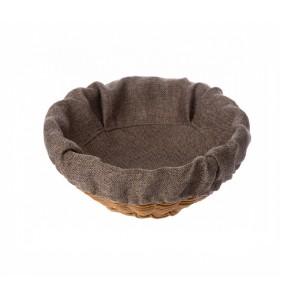 Чехол для корзинки пластиковой круглой рогожка коричневый