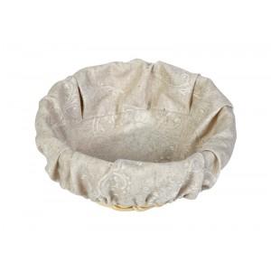 Чехол для корзинки пластиковой круглой серый вензель
