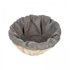 Чехол для корзинки пластиковой круглой рогожка серый