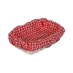 Чехол для корзинки пластиковой прямоугольной мелкая бело-красная клетка