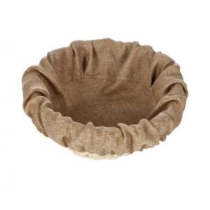 Чехол для корзинки пластиковой круглой рогожка бежевый
