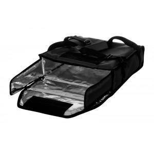 Термосумка на 2 пиццы 350х350х100 мм фольгированная средняя черная с вентиляцией