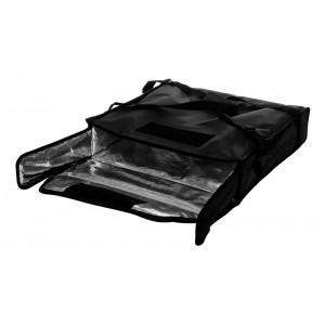 Термосумка на 2 пиццы 450х450х100 мм фольгированная XXL черная с вентиляцией
