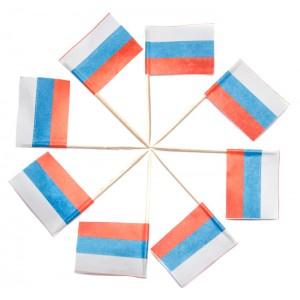 Пика декоративная «Флажок Россия» 70 мм 120 шт