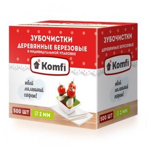 Зубочистки 500 шт в индивидуальной упаковке мятные KOMFI [6925]