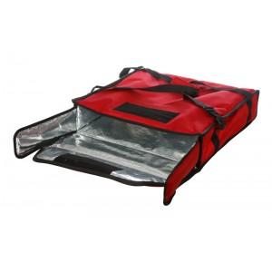 Термосумка на 2 пиццы 450х450х100 мм фольгированная XXL красная с вентиляцией
