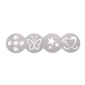 Трафарет декоратор для кофе 100 мм (чашка, звезды, бабочка, зерна) Luxstahl