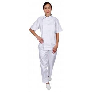 Куртка шеф-повара премиум белая рукав короткий (отделка черный кант) [00014]