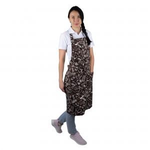 """Фартук """"Гриль"""" поварёшки и кастрюли на коричневом фоне [00301]"""
