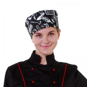Шапочка повара «Таблетка» поварёшки и кастрюли на чёрном фоне [00400]