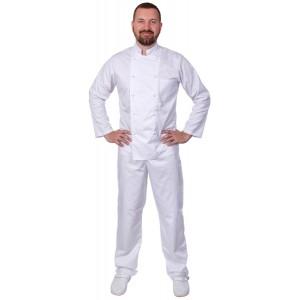 Куртка шеф-повара мужская длинный рукав спинка сетка белая [00013]