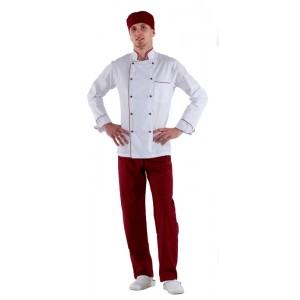 Куртка шеф-повара белая мужская с манжетом (отделка бордовый кант) [00002]