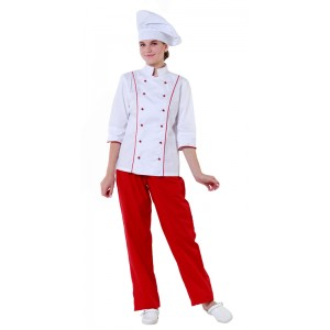 Куртка шеф-повара белая женская с манжетом (отделка красный кант) [00016]